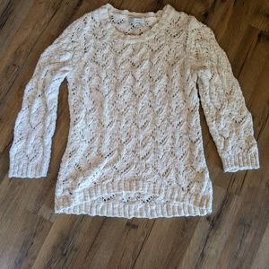 WD.NY crochet open weave high low sweater